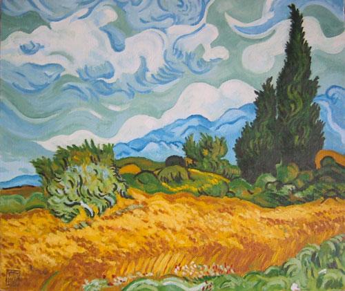 ゴッホ-糸杉のある麦畑