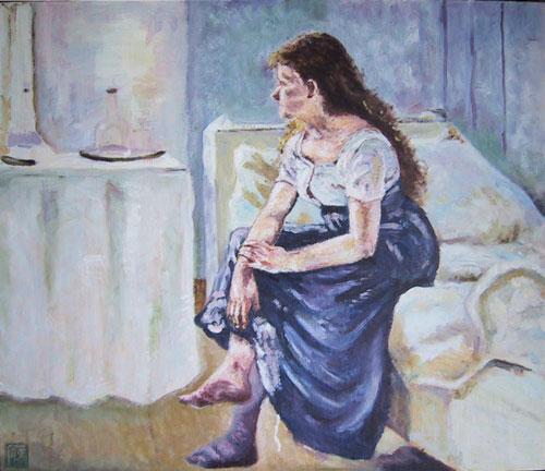 模写-ベッドに座る少女