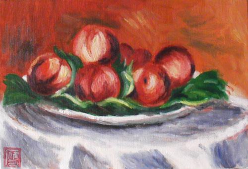 皿の上の桃-ルノワール