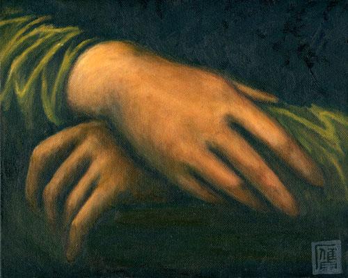 模写:ダ・ヴィンチ「モナ・リザ」の部分