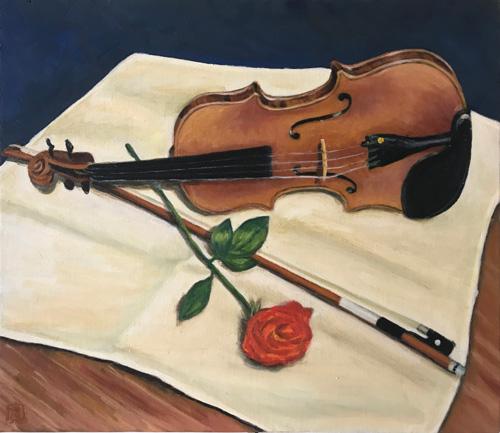 オリジナル-ヴァイオリンとバラ